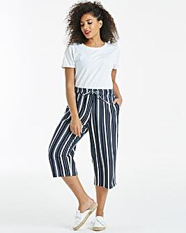 Essential Stripe Linen Mix Crop Trousers