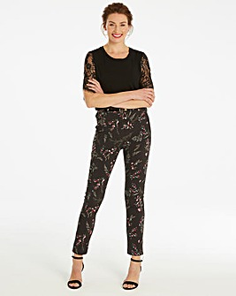 Belted Print Zip Ankle Trousers Regular