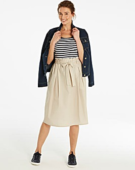 Paperbag Tie Waist Cotton Skirt