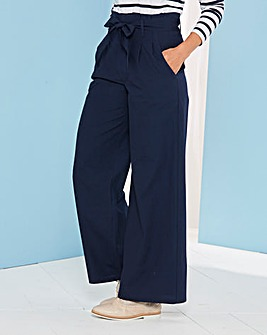Paperbag Tie Waist Wide Trouser Reg