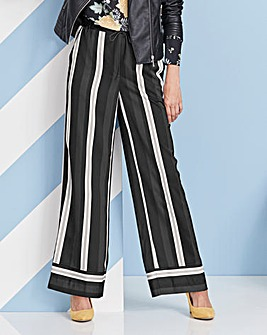 Stripe Satin Wide Leg Trouser Reg