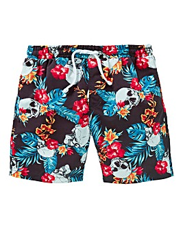 Boys Skull Print Swim Shorts