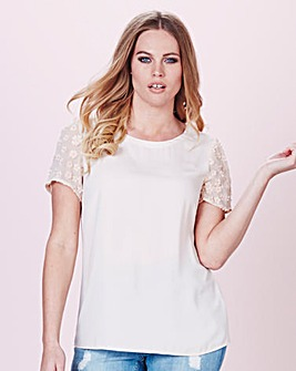 Simply Be Flower Sleeve Shell Top