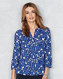 Blue Floral Pleat-Detail Blouse