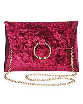 Sophie Burgundy Ring Detail Clutch Bag