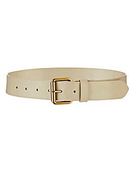 Taupe Leather Jeans Belt
