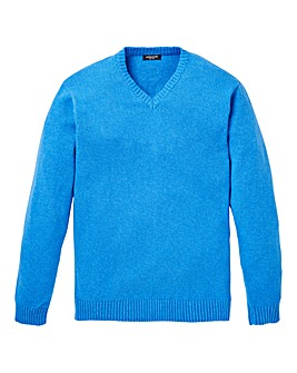 Capsule Blue V- Neck Cotton Jumper L