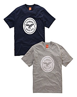 Le Breve Pack of 2 Text Logo Tees