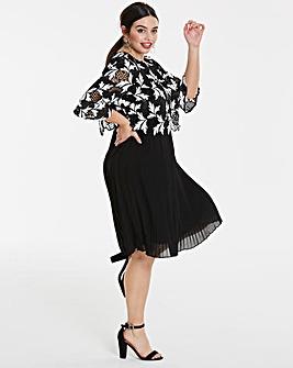 Lovedrobe Crochet Pleated Skirt Dress