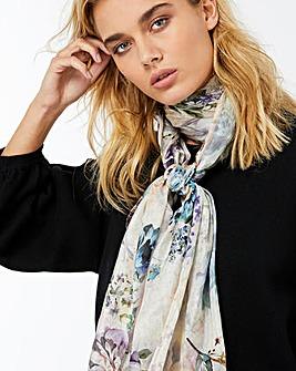 Accessorize Peony Floral Silk Scarf