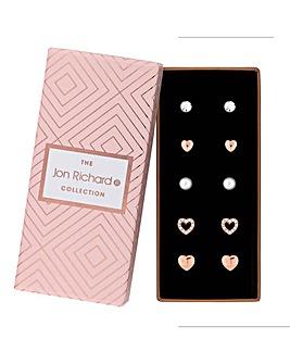 Jon Richard Heart And Pearl Earring Set