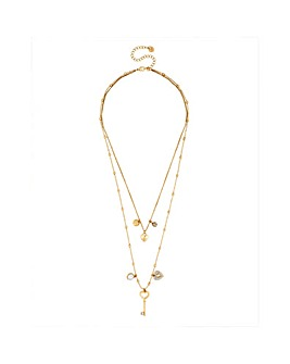 Lipsy Heart Charm Multi Row Necklace