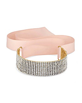Lipsy Diamante Ribbon Choker