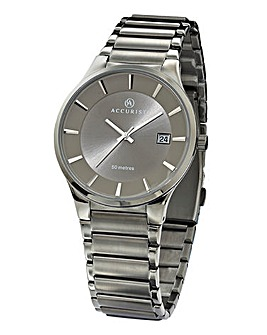Accurist Gents Slim Grey Bracelet Watch