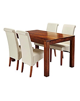 Java Acacia Dining Table with 4 Chairs