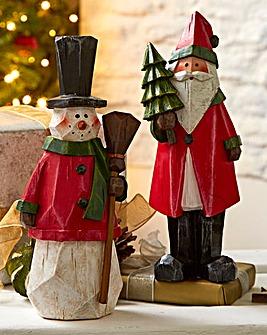 Santa And Snowman Nordic Figures