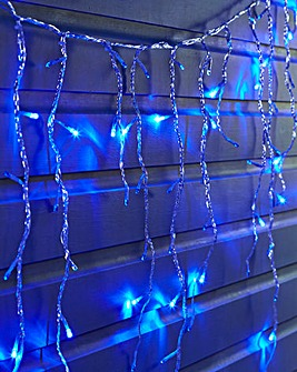 Blue Snowing Icicle Lights