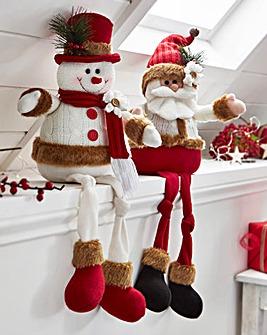 Jolly Santa & Snowman Sitting Ornaments