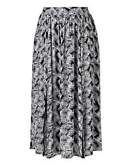 Split Front Midi Skirt - Black Print