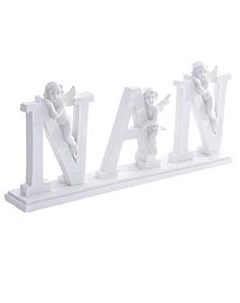 NAN Letter Cherub Ornament on Base