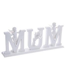 MUM Letter Cherub Ornament on Base