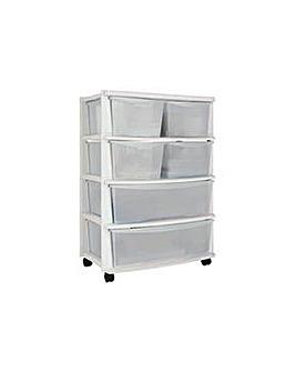 6 Drawer Plastic Wide Unit - White