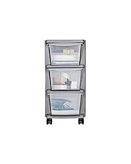 3 Drawer Slim Plastic Storage - Silver