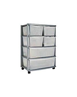 6 Drawer Plastic Wide Storage Silver