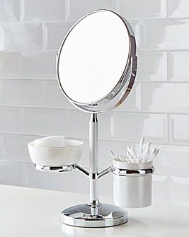 Table Mirror With Cosmetic Holder