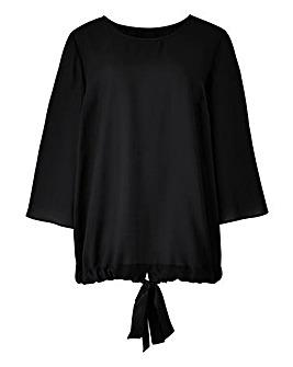 Black Kimono Sleeve Tie Back Top