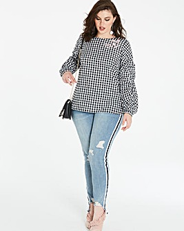 Black/White Embroidered Gingham Top