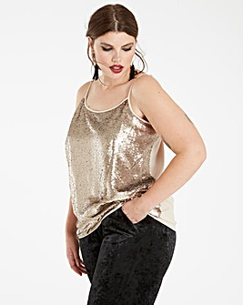 Cream All Over Sequin Camisole Top