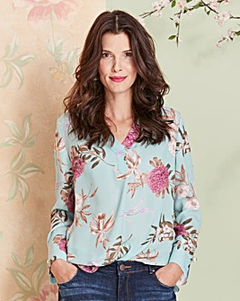 Floral Shirt with Pearl Trim