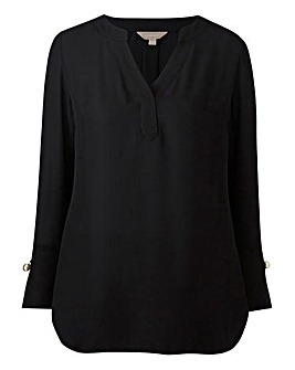 Black Shirt with Pearl Trim