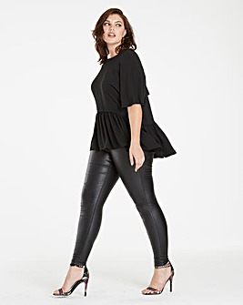 Black Soft Peplum Top With Bow Back