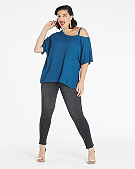 Dark Teal Off The Shoulder Blouse