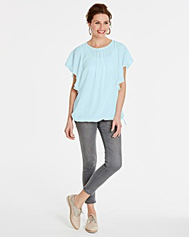Iced Blue Bubble Hem Blouse