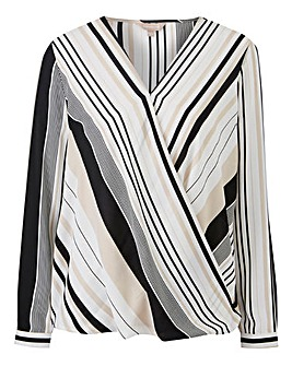Petite Black/White Stripe Wrap Blouse