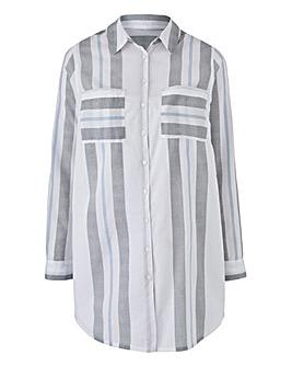 Ivory Stripe Tunic Shirt With Curved Hem