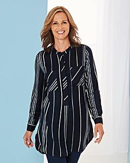 Navy Stripe Viscose Longline Shirt