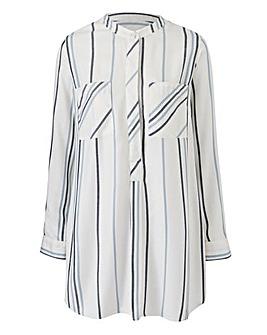 Ivory Stripe Viscose Longline Shirt