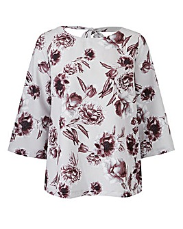 Grey Floral Blouse With V Back