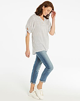 Stripe V Neck Ladder Trim Blouse