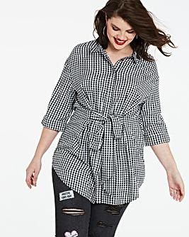 Gingham Oversized Longline Shirt