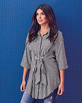 Gingham Oversized Longline Shirt
