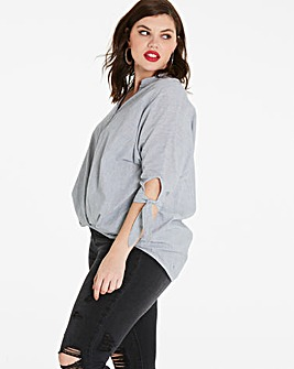 Grey Gathered Puff Hem Shirt
