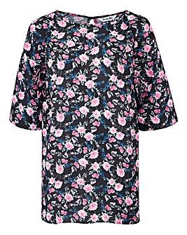Black Floral Ruched Raglan Sleeve Top