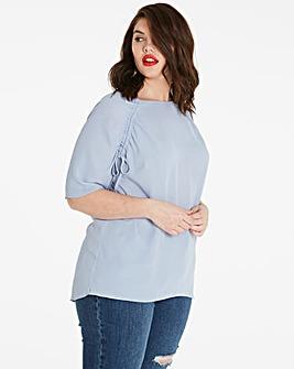Zen Blue Ruched Raglan Sleeve Top