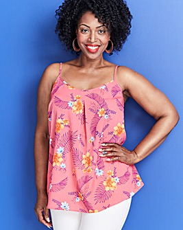 Pink Floral Strappy Cami Top