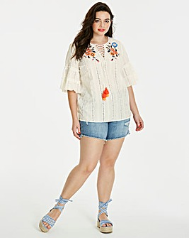 White Broderie Swing Top With Embroidery